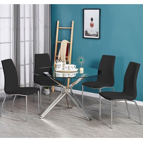 Toulouse Clear Glass Dining Table With Four Opal Black Chairs_1