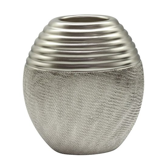 Trace Ceramic Large Round Decorative Vase In Silver