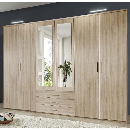 Tracy Mirrored Wardrobe Large In Oak Effect With 6 Doors_1