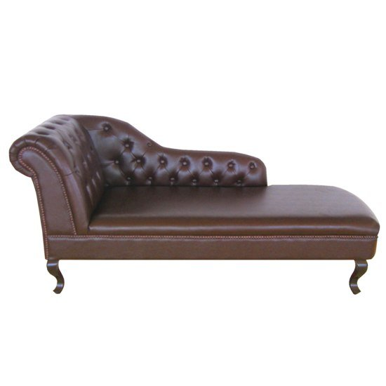 Antique genuine leather chaise lounge with left armrest 4804 for Brown leather chaise lounge