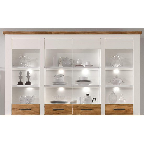 Tramp LED Display Storage Cabinet In White Pine And Satin Walnut