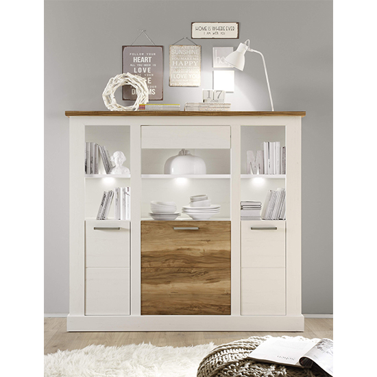 Tramp LED Large Highboard In White Pine And Satin Walnut