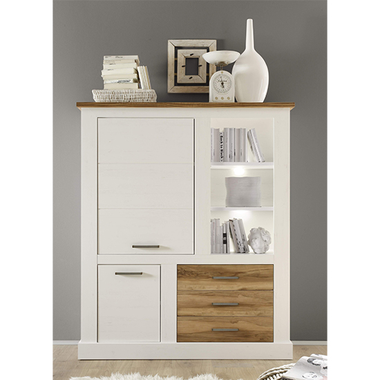 View Tramp led small highboard in white pine and satin walnut