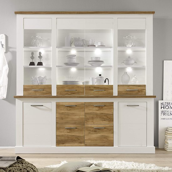 Tramp LED Wooden Highboard In White Pine And Satin Walnut