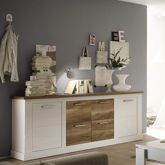 Tramp Wooden Sideboard In White Pine And Satin Walnut