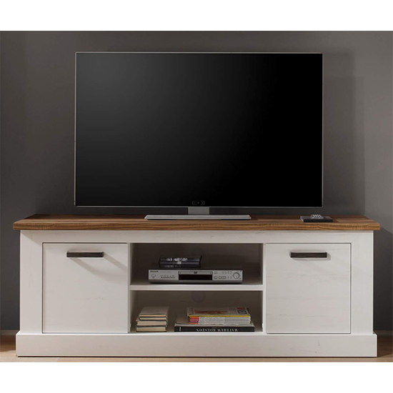 Tramp Wooden TV Stand In White Pine And Satin Walnut