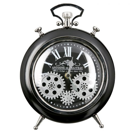 Transmission Glass Wall Clock With Black And Silver Metal Frame_1