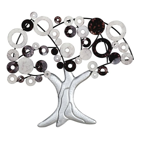 Tree Metal Wall Art In Black And White