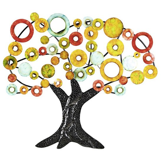 Tree Of Life Metal Wall Art In Multicolor And Black_2