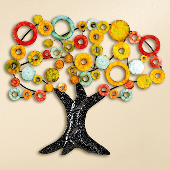 Tree Of Life Metal Wall Art In Multicolor And Black_1