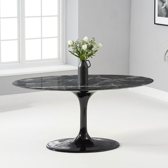 Trejo Oval Marble Table In Black Gloss With Pedestal Base_1