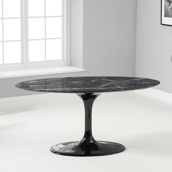Trejo Oval Marble Table In Black Gloss With Pedestal Base_2