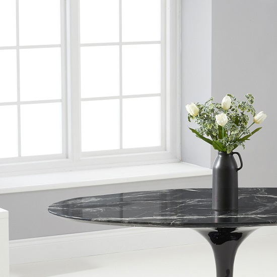 Trejo Oval Marble Table In Black Gloss With Pedestal Base_3