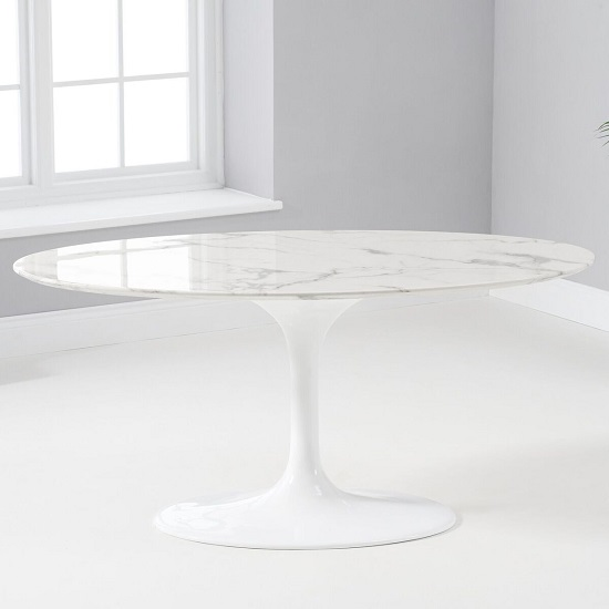 Trejo Oval Marble Table In White Gloss With Pedestal Base