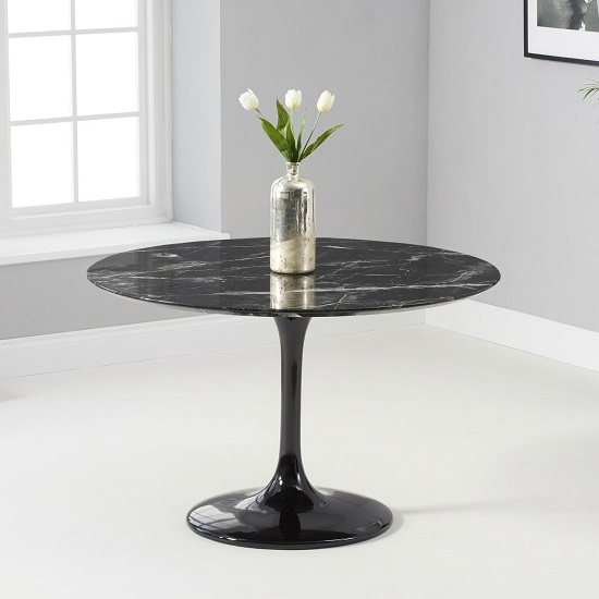 Trejo Round Marble Table In Black Gloss With Pedestal Base