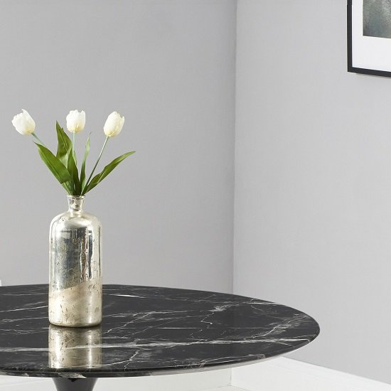 Trejo Round Marble Table In Black Gloss With Pedestal Base_3