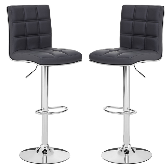 Treno Grey Faux Leather Gas Lift Bar Stools In Pair