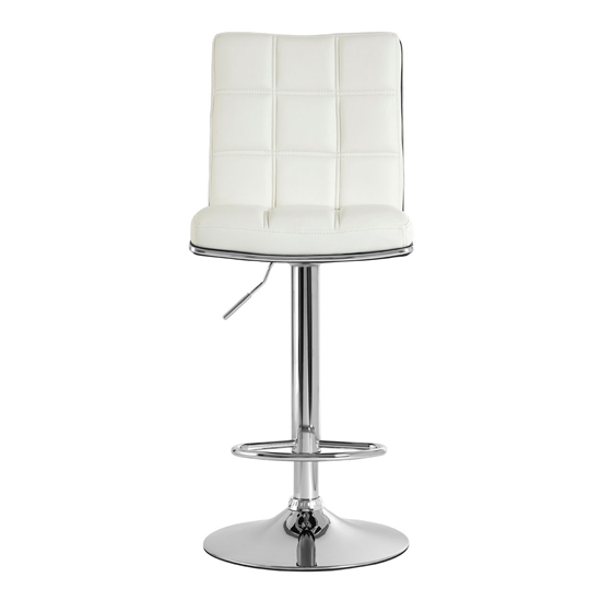 Treno White Faux Leather Gas Lift Bar Stools In Pair_2
