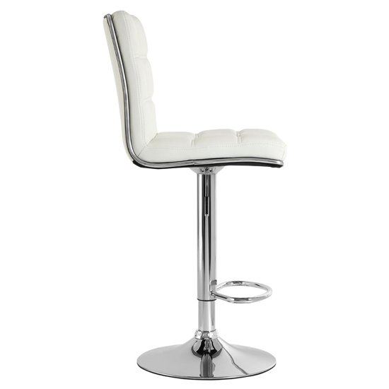 Treno White Faux Leather Gas Lift Bar Stools In Pair_4