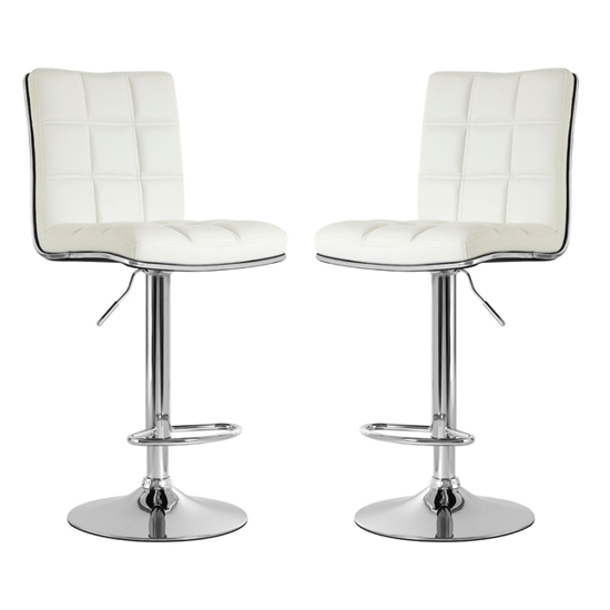 Treno White Faux Leather Gas Lift Bar Stools In Pair_1