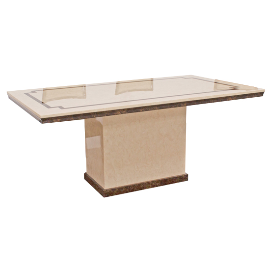 Trento Beige High Gloss Marble Dining Table In Dark Brown