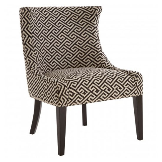 Trento Fabric Upholstered Accent Chair In Beige And Black