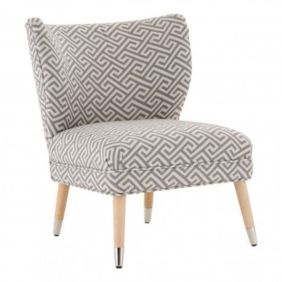 Trento Fabric Upholstered Accent Chair In Beige And Grey