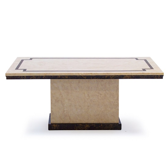 Trento High Gloss Marble Coffee Table In Beige And Dark Brown_2