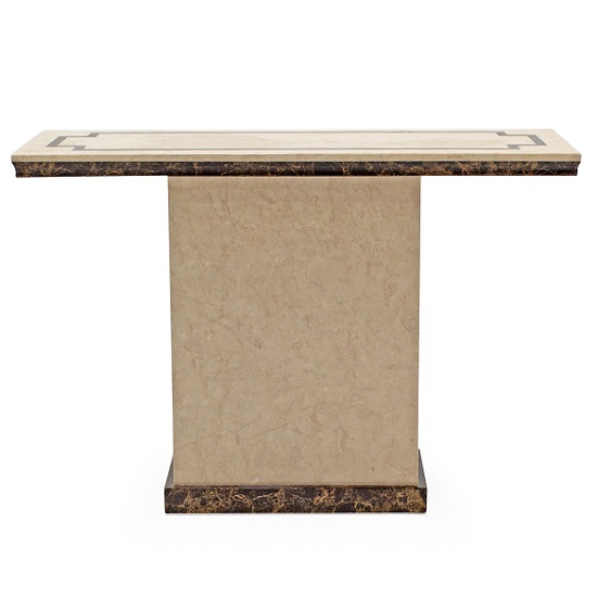 Trento High Gloss Marble Console Table In Beige And Dark Brown_2