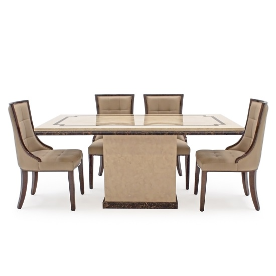Trento High Gloss Marble Dining Table In Beige And 4 Chairs