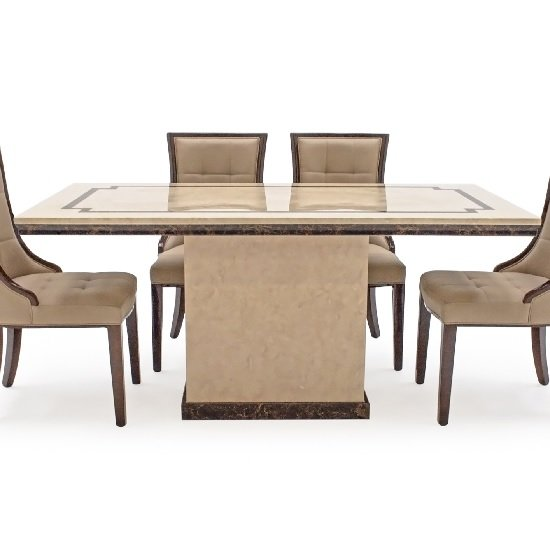 Trento High Gloss Marble Dining Table In Beige And Dark Brown