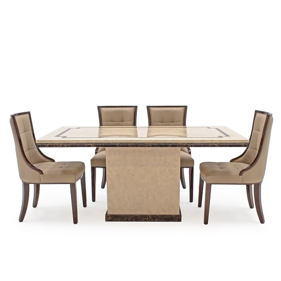 Trento High Gloss Marble Dining Table In Beige And 6 Chairs_2
