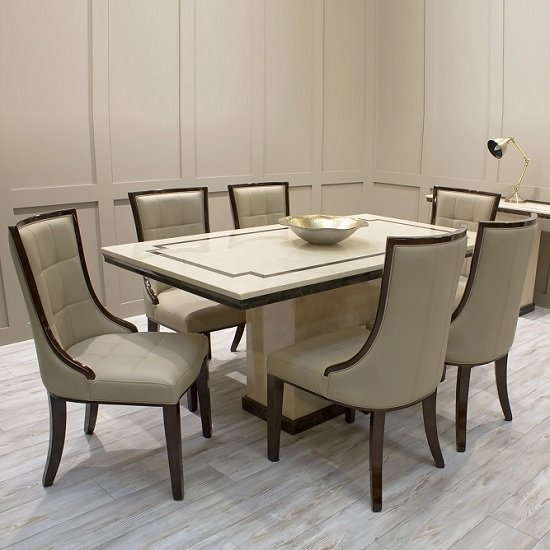Trento High Gloss Marble Dining Table In Beige And 6