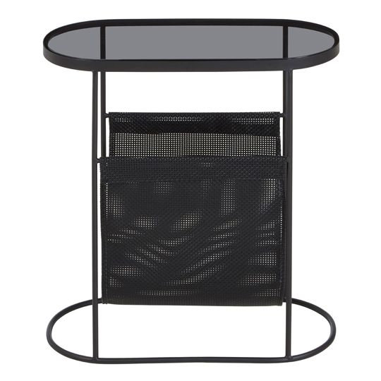 Ruchbah Metal Side Table With Grey Glass Top    _1