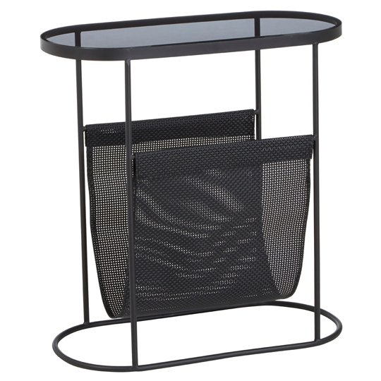 Ruchbah Metal Side Table With Grey Glass Top    _2