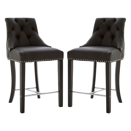 Trento Park Black Faux Leather Bar Chairs In Pair