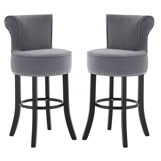 Trento Park Grey Fabric Upholstered Round Bar Chairs In Pair