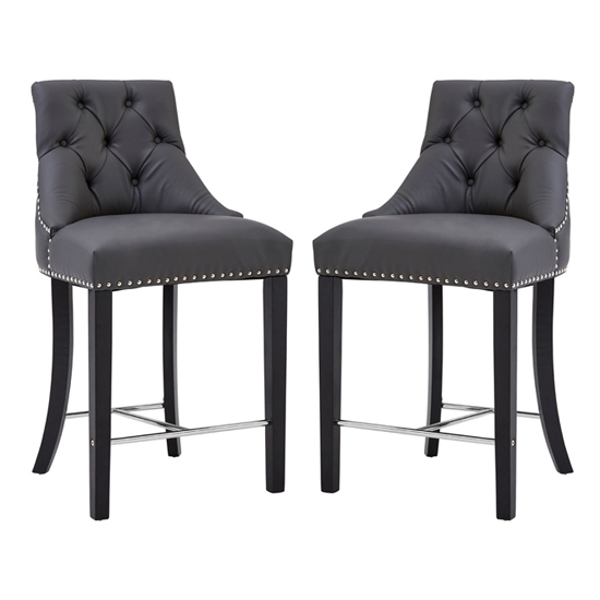 Trento Park Grey Faux Leather Bar Chairs In Pair