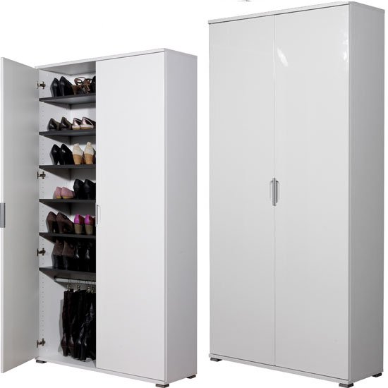 Trento High Gloss White Large Shoe Cabinet 11780 Furniture
