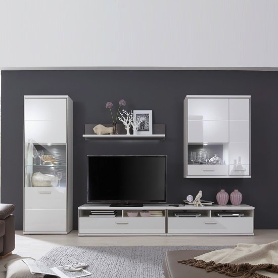 Libya Living Room Set 3 In White High Gloss With LED Lighting | Furniture In Fashion