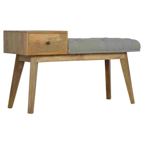View Trenton hallway bench in grey tweed and oak ish with 1 drawer