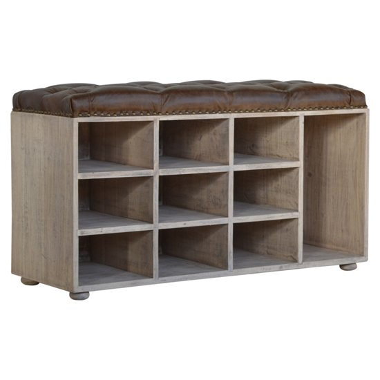 View Trenton shoe storage bench in brown and acid wash with 9 slot