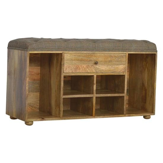 View Trenton shoe storage bench in multi tweed oak ish with 4 slots