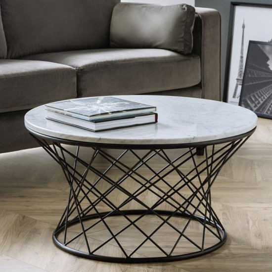Trevi Real Marble Coffee Table In White With Black Wire Base