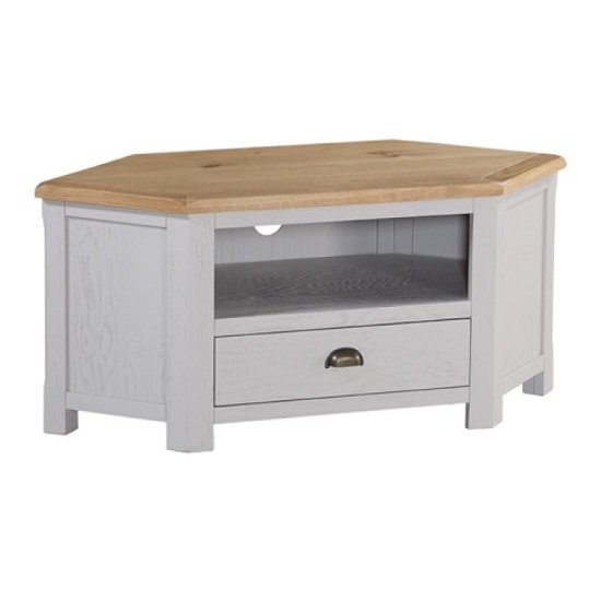 Trevino Corner TV Stand In Antique Grey Painted