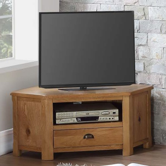 Trevino Corner TV Unit In Oak With 1 Drawer