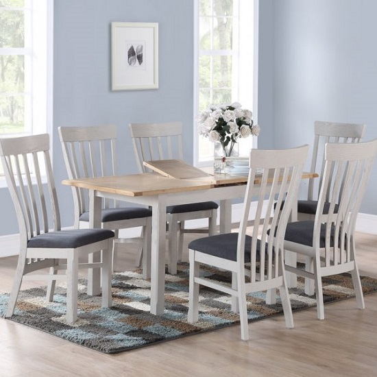 Trevino Dining Table In Antique Grey With Four Chairs