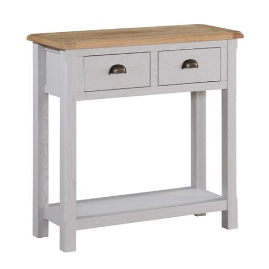 Trevino Large Console Table In Antique Grey Painted