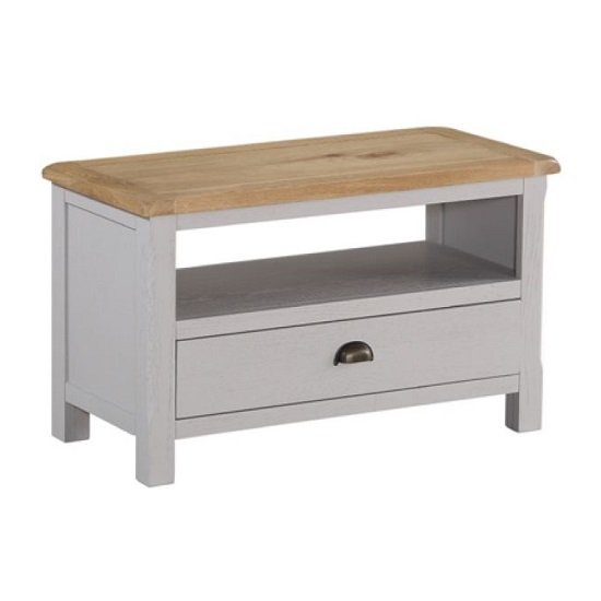 Trevino Wooden TV Stand In Antique Grey Painted
