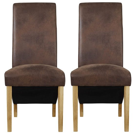Treviso Brown Faux Leather Dining Chairs In A Pair